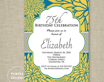 Any Age 75th Birthday Invitation Surprise Celebration Feminine Invite Blue Yellow Silver flower burst Floral Adult Party Invite 318