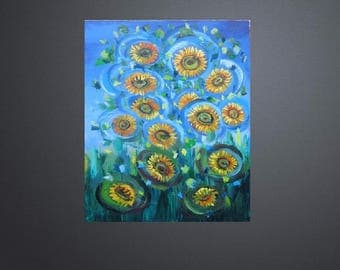 Original  Oil Painting Musical Flower Decorative Panels with Sunflowers Art