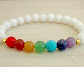 Mala Chakra 7 Chakra Bracelet, White Agate, Men and Women Unisex Bracelet, Yoga, Reiki, Meditation, Free Shipping