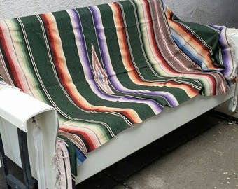 Saltillo Blanket Vintage 50s Mexican Serape Throw Boho Southwest Western Adobe Ranch Cabin Cowgirl Home Decor Mexican Bed Covering