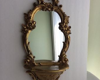 Vintage Hollywood Regency Gold Leaf Syroco Mirror With Shelf