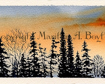 ORIGINAL MINIATURE WATERCOLOR; Sunset skies, skyline, trees silhouette, wall art, 140lb watercolor paper,