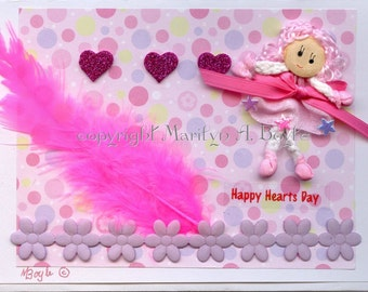 VALENTINE CARD - Hand Made; miniature doll, blank card, pink color, feather, 5 x 7 inches, envelope, removable doll