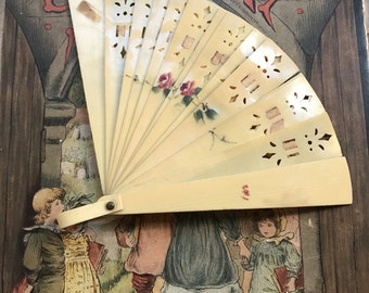 Beautiful Vintage Miniature Hand Painted Doll or Childs Folding Celluloid Fan