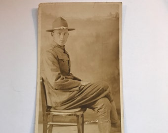 Vintage Military Postcard of WWI Soldier in Uniform