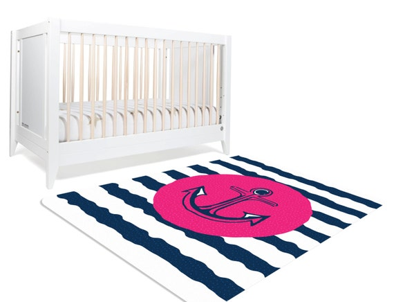 Nautical Rug, Pink And Navy Nautical, Pink And Navy Nursery, Nautical  Nursery Decor, Nautical Girl Nursery, Anchor Rug, Rugs For Nursery