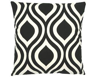Pillowcase EMILY black natural retro graphic 50 x 50 cm