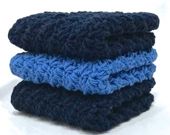 Cotton Crochet Washcloth Set - Shades of Blue