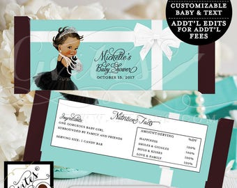 """Blue Candy Bar Wrapper - BABY SHOWER baby and co Printable party chocolate bar wrapper, DIGITAL. {2 Per/Sheet 5.25 x 5.75""""}"""