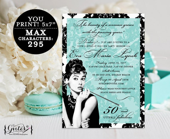 Audrey Hepburn birthday invitations, blue theme dinner party and co invites, 50 and utterly fabulous, cocktail party, personalized printable