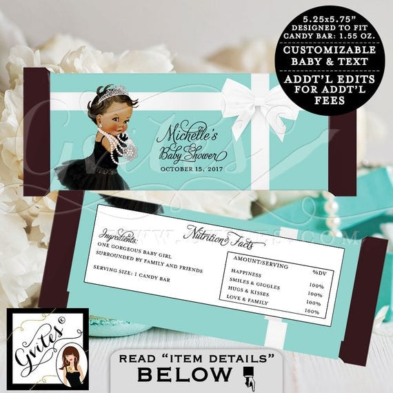 "Blue Candy Bar Wrapper - BABY SHOWER baby and co Printable party chocolate bar wrapper, DIGITAL. {2 Per/Sheet 5.25 x 5.75""}"