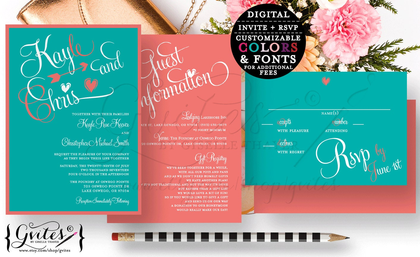 Turquoise And Coral Wedding Invitations: Coral And Turquoise Wedding Invitation Digital Template