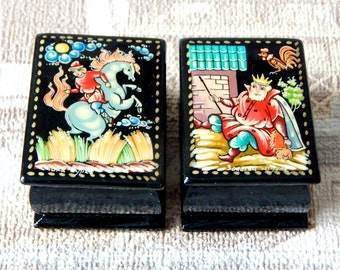 """A small box for jewelry  lacquer miniature """"Russian fairy tales"""""""