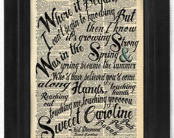 Neil Diamond, Sweet Caroline Lyric, on Antique Dictionary Art Print,Wall Decor,Wall Art Mixed Collage