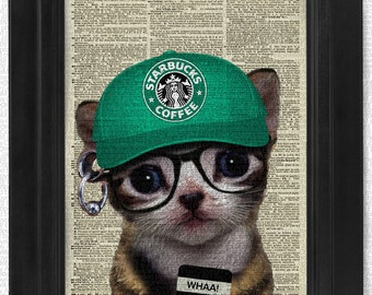 Sale-Buy2get1free, May I Take Your Order Starbucks Kitty on Antique Dictionary Page, art print, Wall Decor, Wall Art