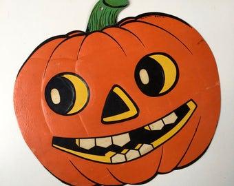 Large 14 inch Vintage Halloween die cut JOL marked Beistle Co. Made in USA~embossed 50s-60s from MilkweedVintageHome