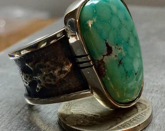 Mens Tufa Cast sterling silver ring with high grade Arizona's best turquoise.  size 10