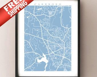 Carrboro map art print - Chapel Hill Area, North Carolina Poster