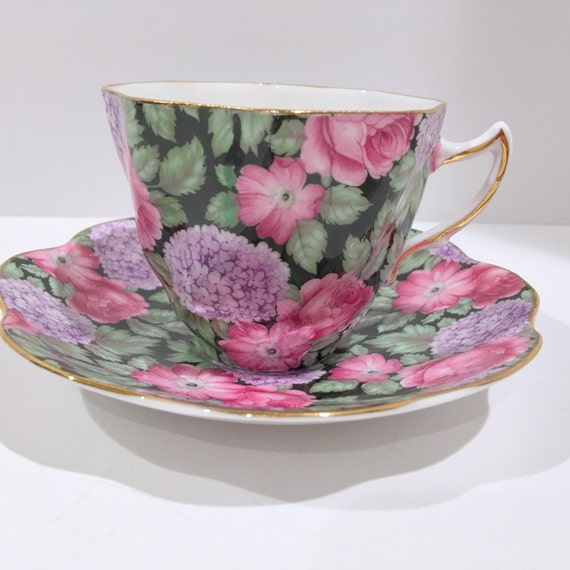 rosina chintz tasse th et soucoupe porcelaine anglaise. Black Bedroom Furniture Sets. Home Design Ideas