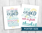 LDS Young Women 2017 Theme - poster size, Let Him Ask of God, YW theme, mutual theme
