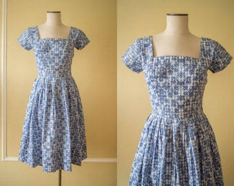 vintage 1950s dress / 50s blue gingham day dress / small / No Place Like Home Dress