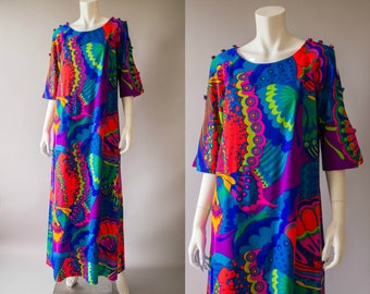 vintage 1960s dress / 60s psychedelic Hawaiian dress / medium / Butterfly Island Dress