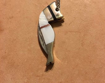 Mother-of-Pearl Lady Leg Mini Pocket Knife Necklace