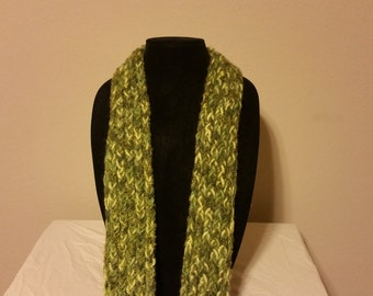 The Shades of Green Crocheted Scarf
