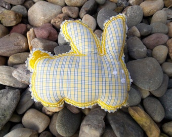 Bunny ~Plushie ~ Stuffie Stuffed Rag ~Toy Baby Shower Gift~Child~Kids~Machine Embroidered on Reclaimed Fabrics