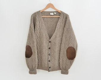 Cable Knit Wool Cardigan Sweater Field  Men's XXL Leather Elbow Patches Dark Tan Wool Cardigan