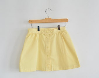 "Yellow Tennis Skirt Snap Front Short 90's Tennis Skirt Lilly's of Beverly Hills Mini Skirt Front Wrap 26"" waist"