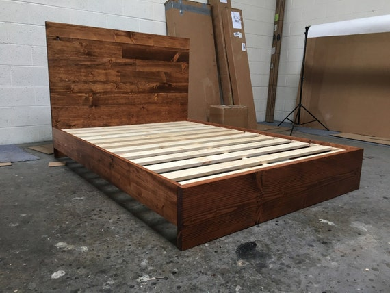 ready to ship full size wood platform bed frame and headboard set full bed frame