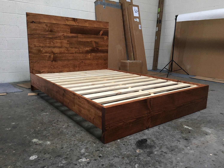size wood platform bed frame and headboard set full bed frame zoom
