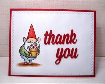 Thank You Card-Thank You-Thinking of You Card-Thinking of You-Appreciation Card-Gnome-Gnome Card-Garden Gnome