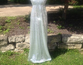 Moon Light Sequin Holographic Goddess Affordable Maxi Wedding Dress