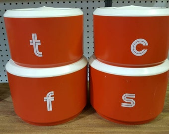 Vintage retro kitchen containers Coffee Sugar Flour Tea Retro Orange
