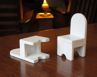 White Painted Wood Dollhouse Chairs, 2 High Back Arched Top,White Dollhouse Chairs,Modern Kitchen Dining Room,Miniature Doll House Furniture