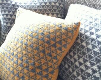 Lambswool knitted Scandi cushion, Geometric Cushion, Knitted Industrial Cushion, Knitted Lambswool Cushion, Scandi pillow