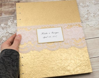 Photo Guest Book, Wedding Guest Book, Gold Guest Book, Gold and Pink, Instant Photo, Mini Photo Guest Book, Large Guest Book, MADE to ORDER