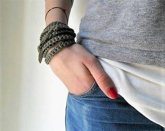 Crochet  wrap bracelet or necklace.  - textile jewelry with leaf pendant bronze