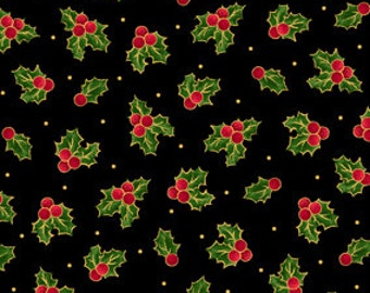 Christmas Sounds of the Season Holly and Berries Black Fabric From Quilting Treasures By the Yard