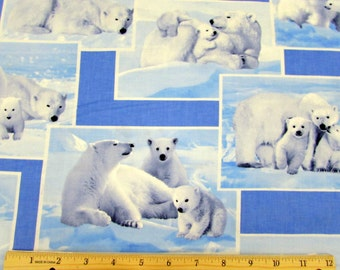 Polar Bear Fabric On the Wild Side From Kanvas 100% Cotton