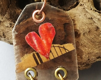 Mica Heart Necklace with Music Sheet by Vicki Basta Jewelry