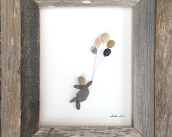 Pebble Art Girl with Balloons Modern Wall Art Abstract Contemporary Signed.