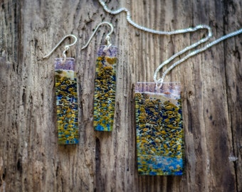 metallic earth tones with transparent pink lintel jewelry set