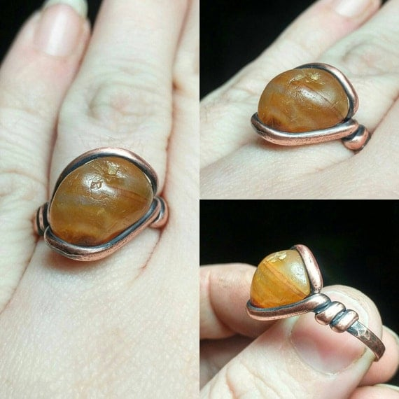 Rustic Stone Ring | Rustic Gemstone Ring | Copper Ring Sz 8.5 | Raw Stone Ring | Rough Stone Ring | Carnelian Agate Ring | Raw Carnelian