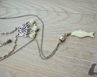 Triple Layer Mother of Pearl Sea Sorceress Necklace