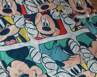 Disney's Mickey Mouse and Friends Duvet Cover with Pillowcase Upcycling Material c1990s