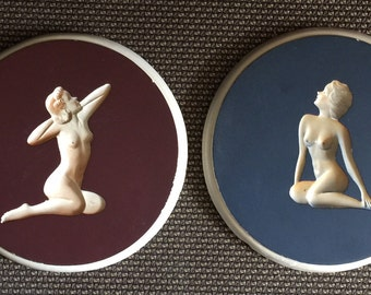 Pair (2) of EXTREMELY RARE Vintage Erotica Chalkware, Art Deco Nude Intaglio, Risqué Chalkware / Plaster Wall Art ~ Pictures