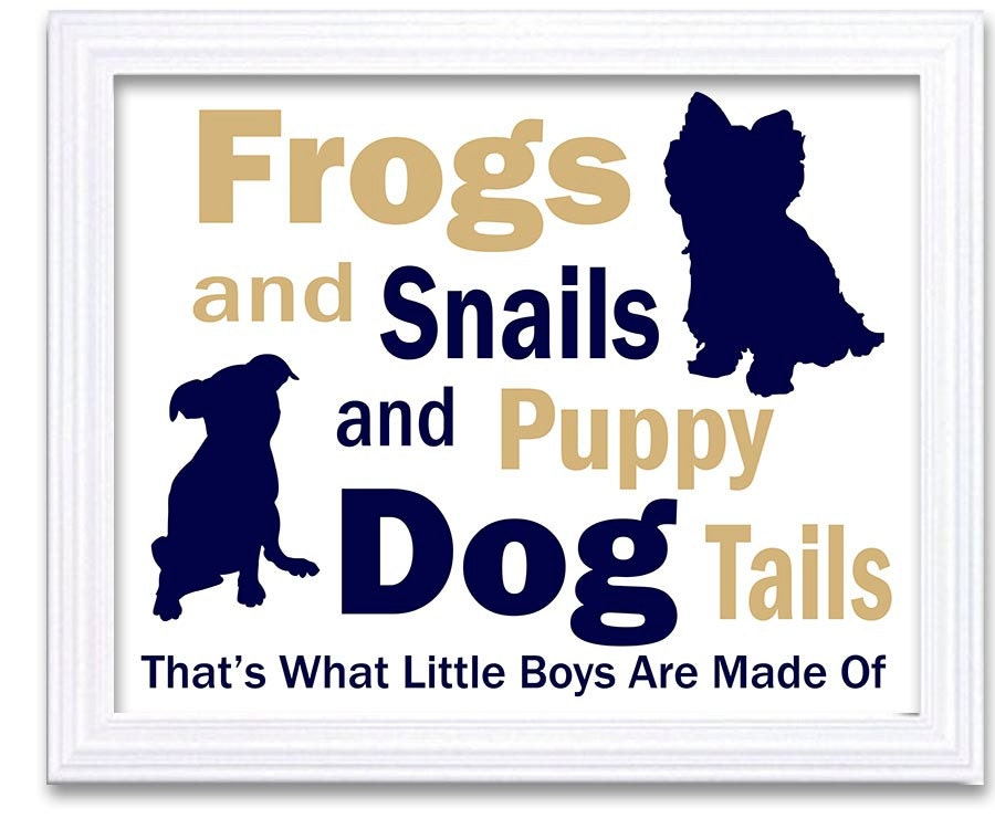 Puppy Dog Nursery Art Nursery Print Baby Art Navy Blue Beige Baby Animal Print Frogs and snails and